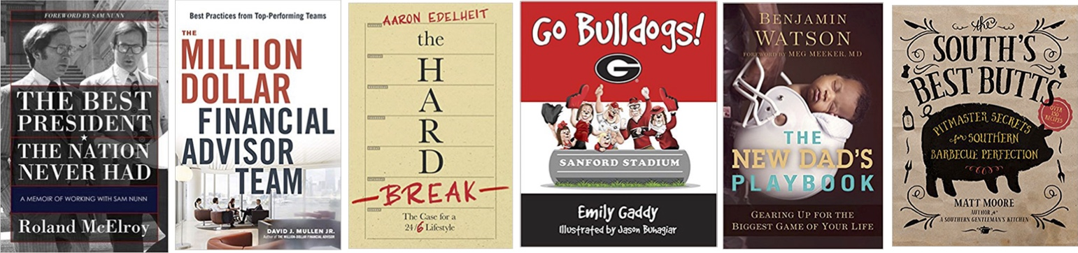 Six alums from the Terry College recently penned books in topics including financial management, parenthood and barbecue.