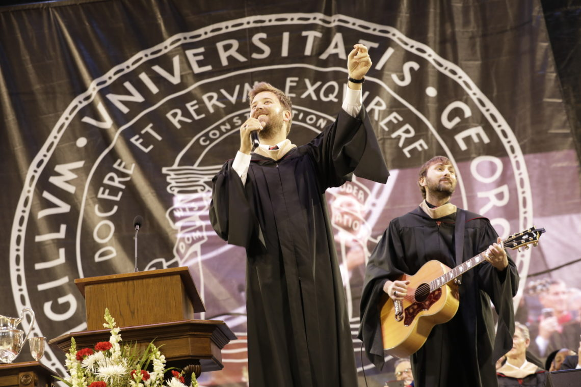 Lady Antebellum members Charles Kelley, left, and Dave Haywood perform at the UGA Undergraduate Commecement ceremony.