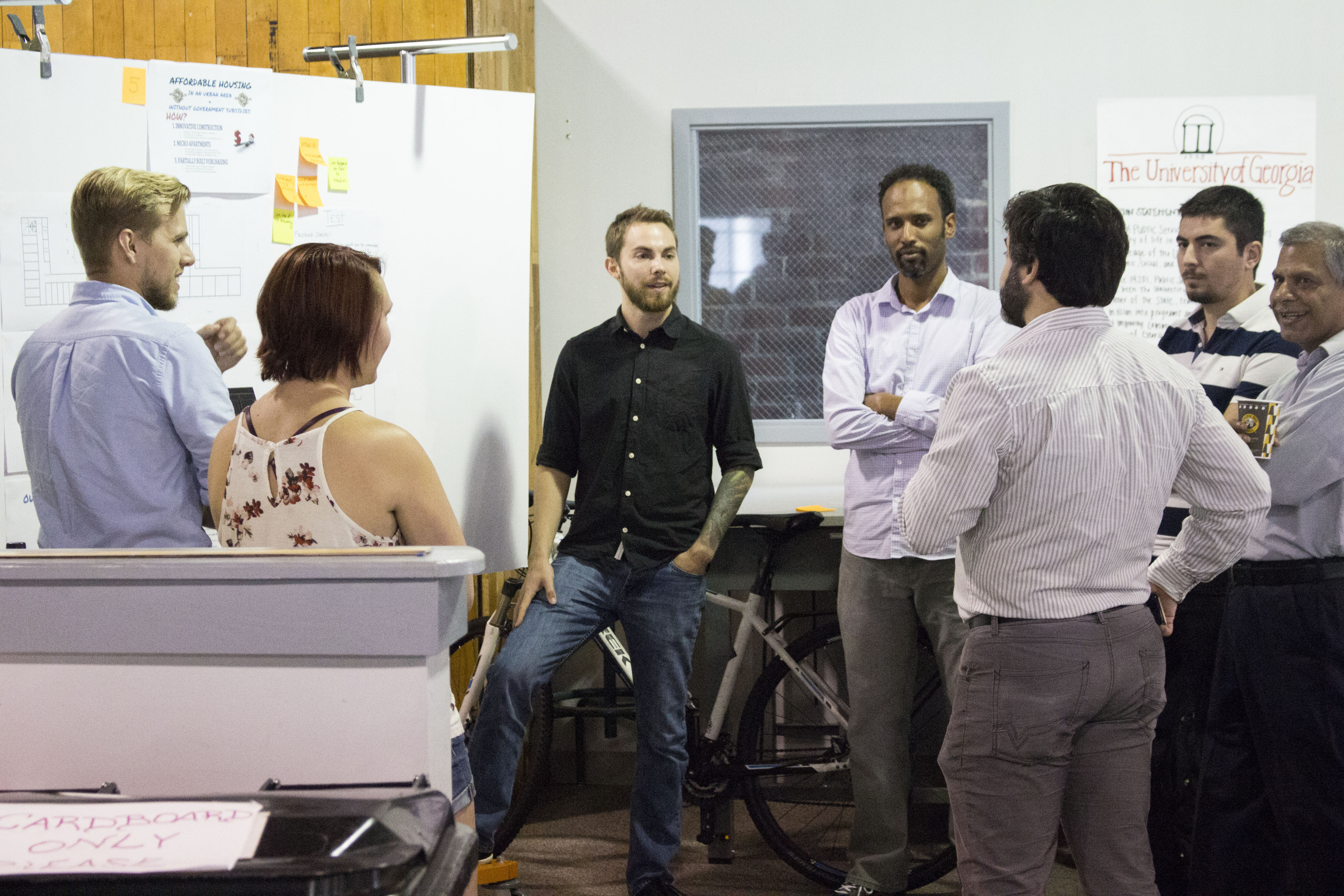 University of Georgia graduate students discuss their entrepreneurial projects during a Creative Design Thinking class at Broad Street Studio One in Athens last year. UGA is offering a new Graduate Certificate in Entrepreneurship, which is available to all UGA graduate students beginning this fall.