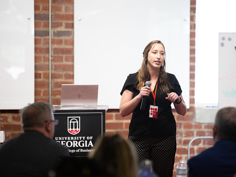 Baylee Marsh, founder of Baylee Bakes, pitches her business to a panel of judges during the 2019 Summer Launch Program pitch competition on Aug. 8 at Studio 225.