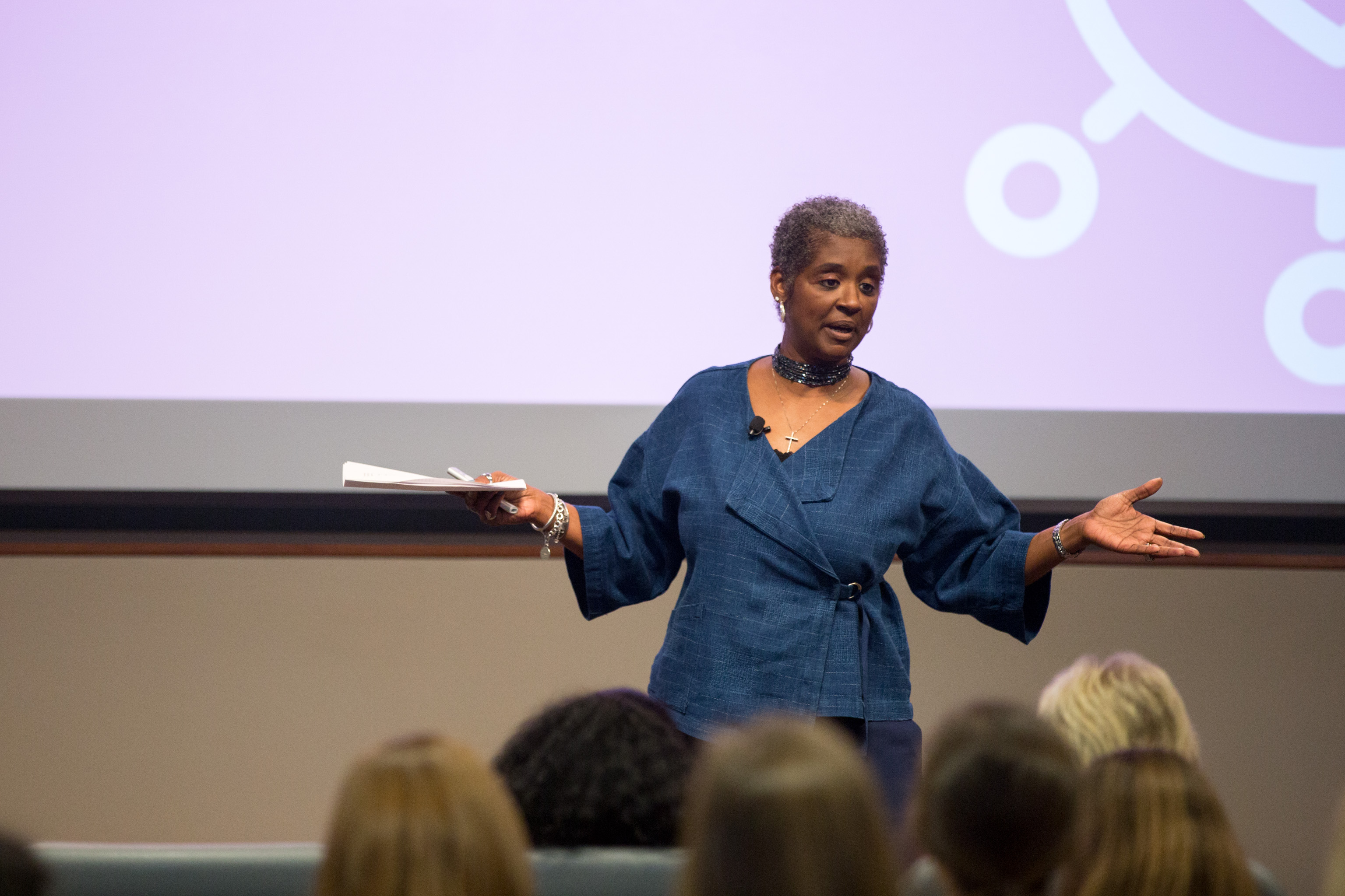 Karen Matterson delivers the keynote address at the 2019 Terry Women's Initiative Student Conference.
