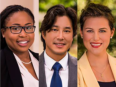 Terry College management doctoral candidates, from left, Edwynna Hill, Eric Lee and Rachel Burgess, all received tenure track job offers despite the economic downturn.