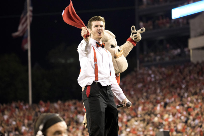 Chip Chambers is the Mic Man hyping up the crowd at home football games. (Photos by Dorothy Kozlowski/UGA)